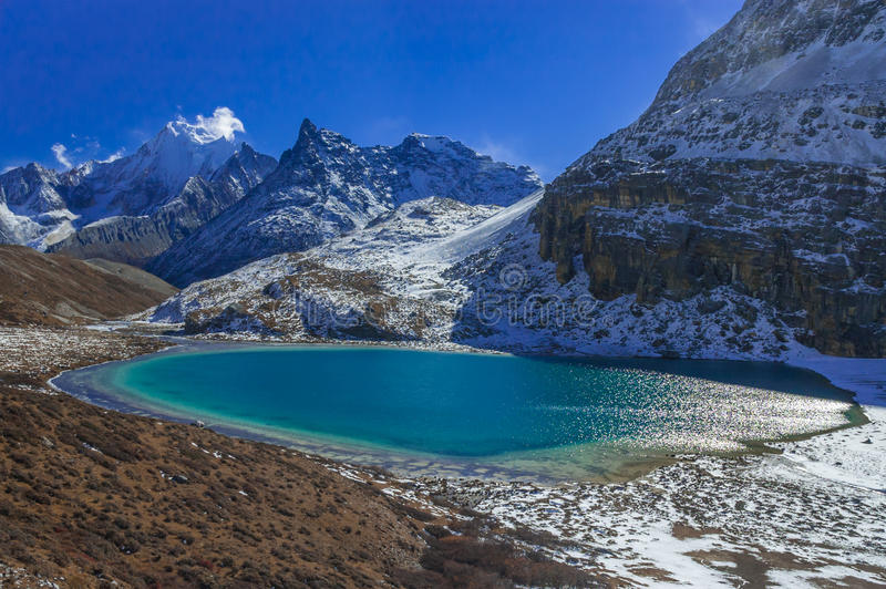 Milk Lake at Yading Nature Reserve stock photography