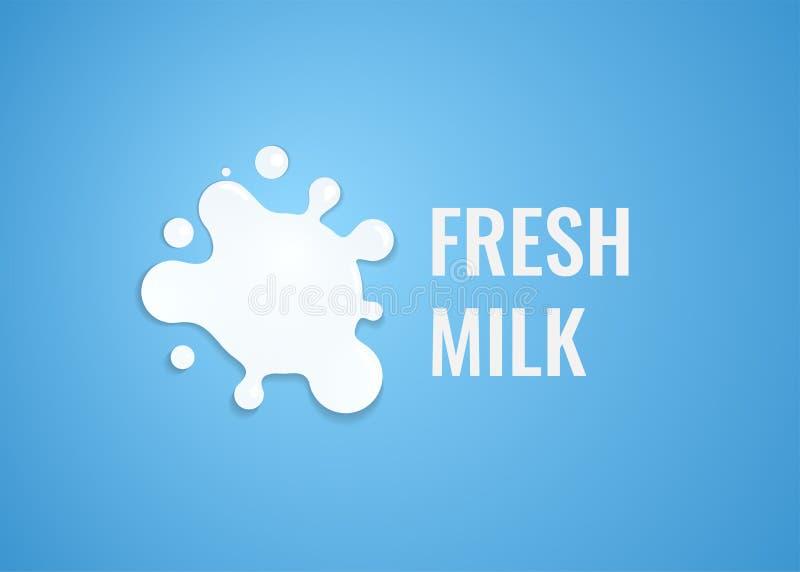 Milk Logo with White Splash of Milk. Vector Emblem Illustration for Dairy Farm with Natural Fresh Product. Milk Logo with White Splash of Milk and caption on royalty free illustration