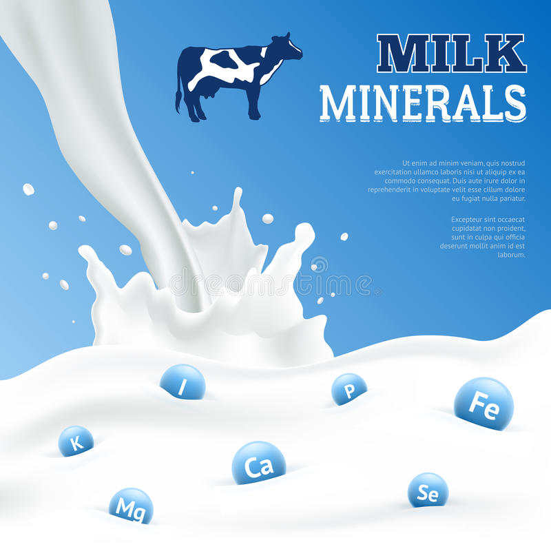 Milk Minerals Poster. Milk minerals realistic poster with cow on blue background vector illustration vector illustration