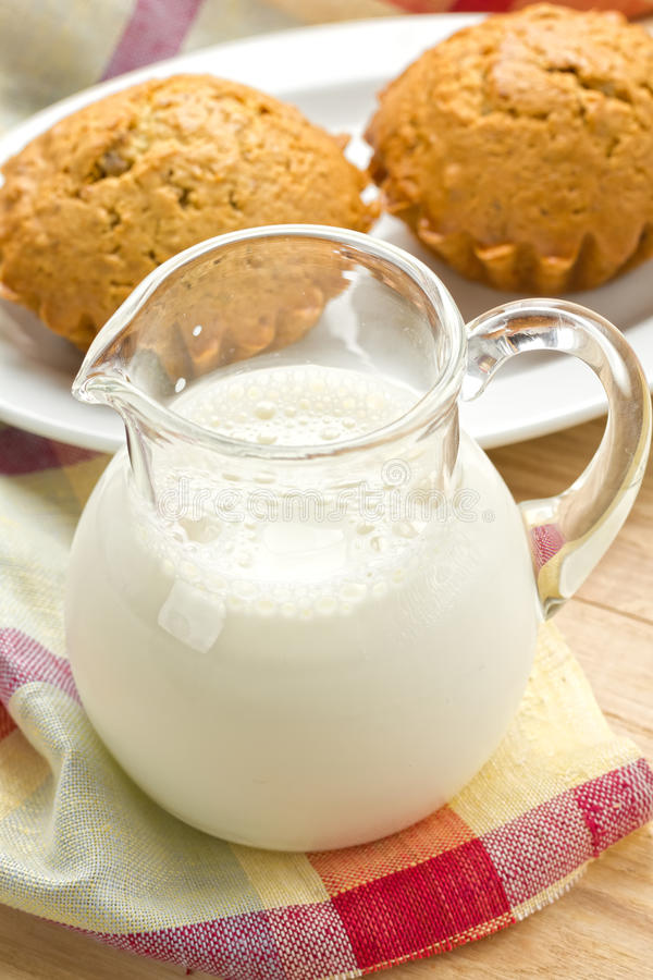 Milk and muffins royalty free stock photo
