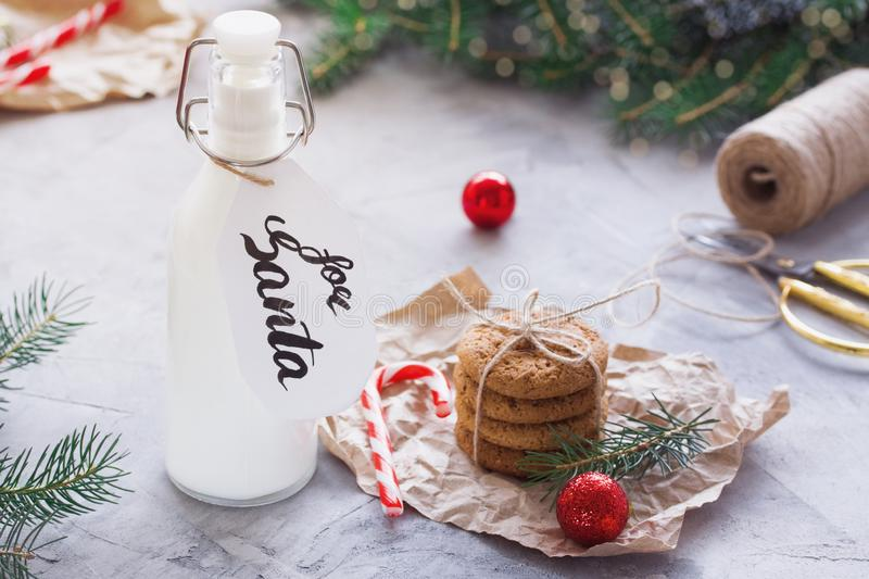 Milk and Oatmeal cookies for Santa Claus stock photo