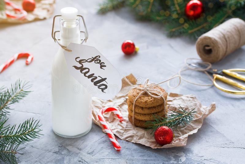 Milk and Oatmeal cookies for Santa Claus stock photography