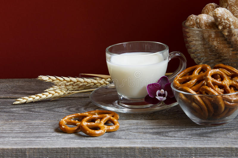 Milk and orchid royalty free stock photo