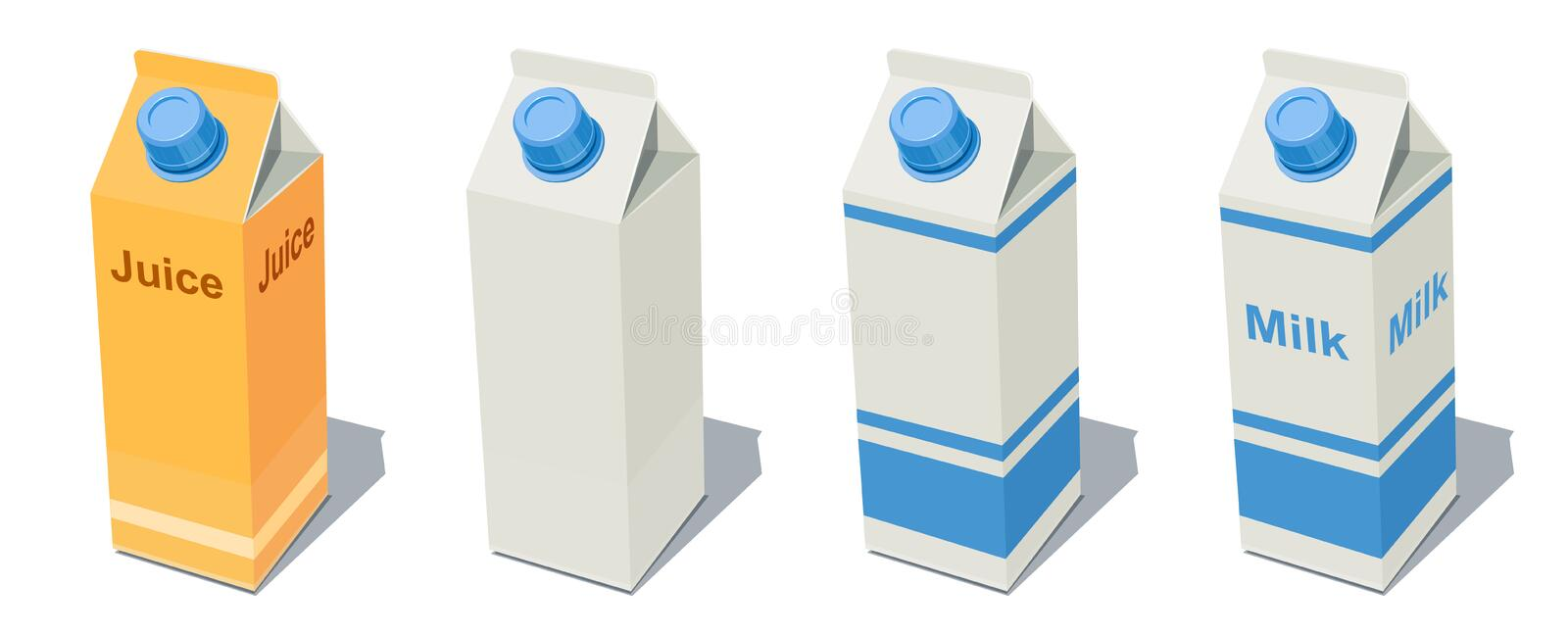 Milk Pack and Juice. Fruit beverage bottle. Milky product. Healthy food drink paper box. Blank Container for organic meal products. Vector illustration. White stock illustration