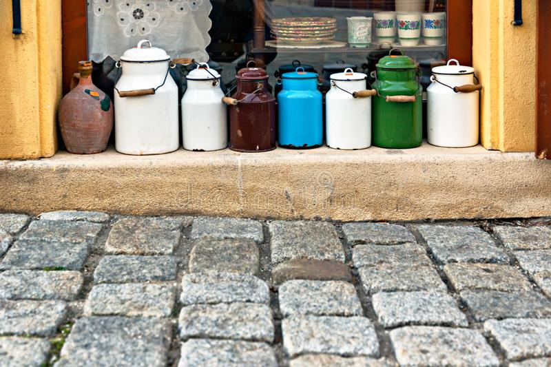 Milk pot. In Bratislava, Slovakia stock photos
