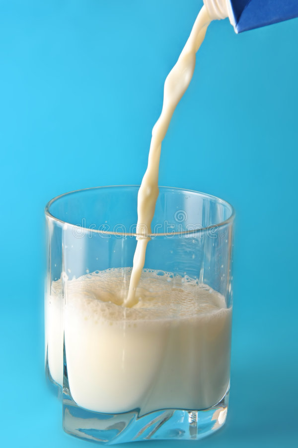 Milk Poured In Glass Royalty Free Stock Image