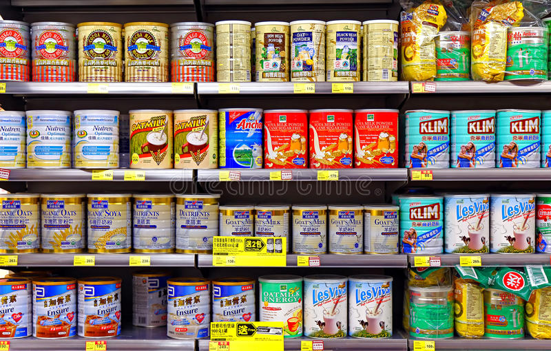 Milk powder products at supermarket royalty free stock images