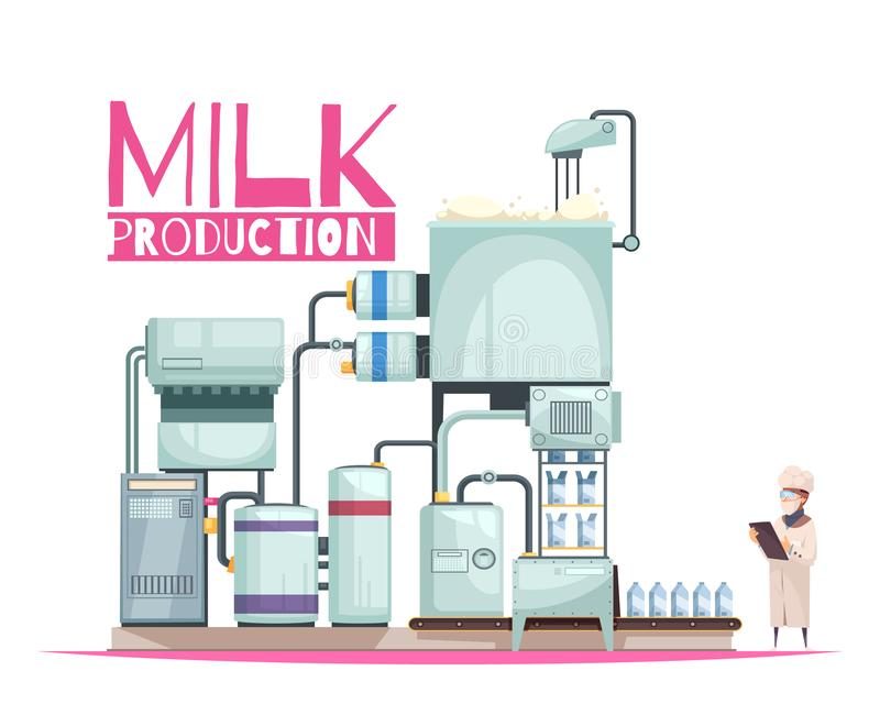 Milk Manufacturing Background Composition royalty free illustration