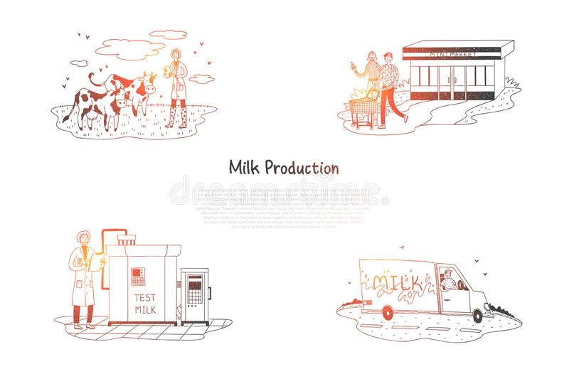 Milk production - counting cows on field, producing milk in factory, delivery and buying milk in supermarket vector concept sets royalty free illustration