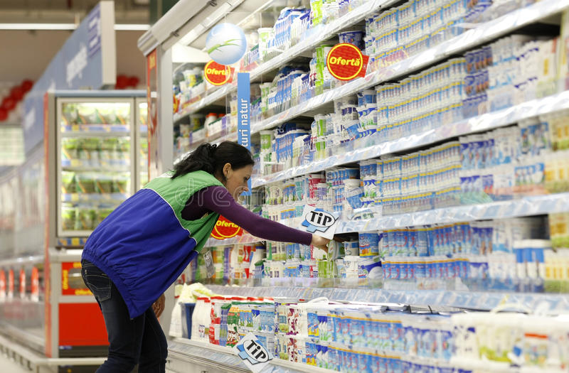 Milk products department royalty free stock image