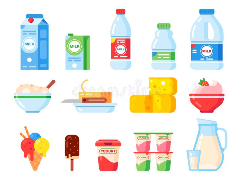 Milk products. Healthy diet yogurt, ice cream and milk cheese. Fresh dairy product isolated vector flat icons collection royalty free illustration
