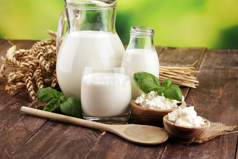 Milk products. tasty healthy dairy products on a table. sour cream in a white bowl, cottage cheese bowl, cream in a a bank and royalty free stock photo