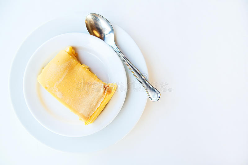 Download Milk Pudding On White Plate. Top View Stock Photo - Image: 83711774