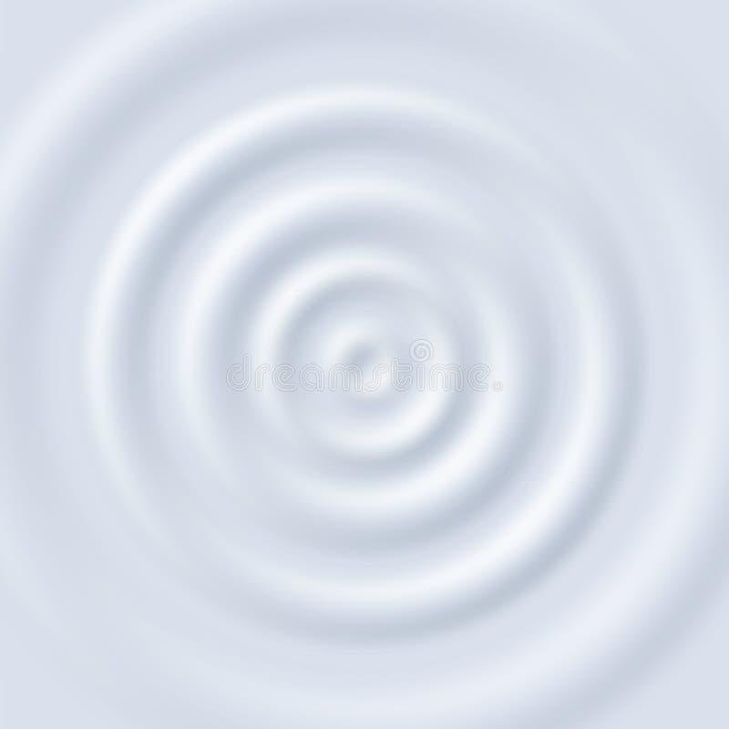 Milk ripple. Circle waves yogurt cream. Close up top view white milk circular ripples vector texture royalty free illustration