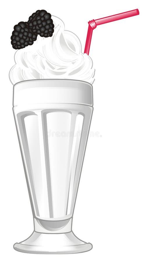 Milk shake com amora-preta ilustração stock