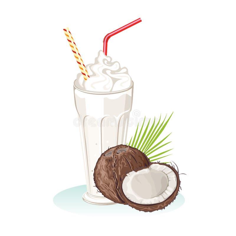 Milk shake do coco Bebida saudável de refrescamento no vidro com palha ilustração royalty free