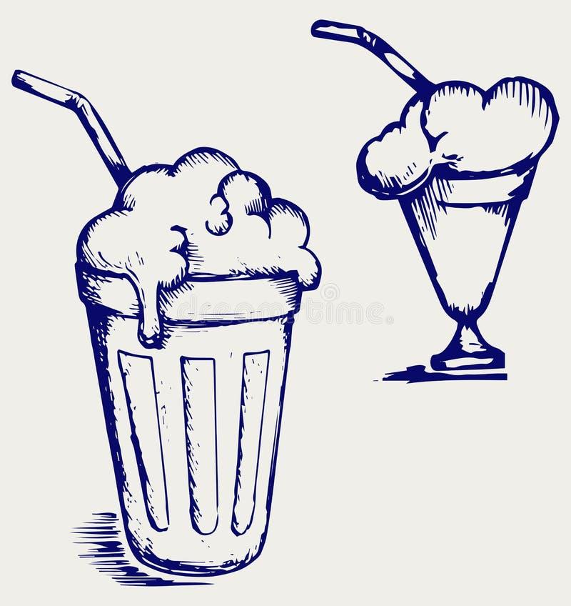 Milk shake. Doodle style. Vector vector illustration