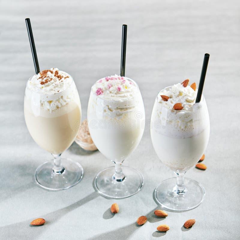 Milk shake em Gray Background imagens de stock royalty free