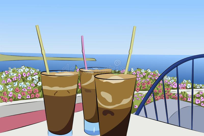Milk-shake froid de café sur le fond du panorama de mer illustration de vecteur
