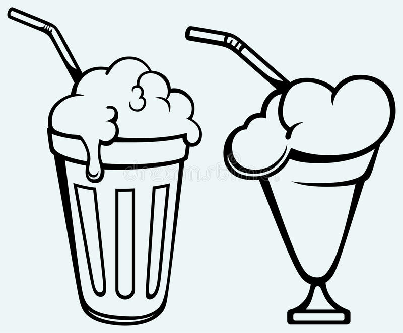 Milk shake. Isolated on blue background royalty free illustration