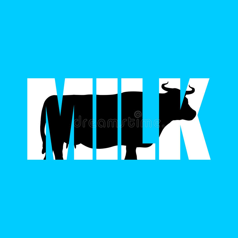 Milk. Silhouette of cow in text. Farm animals and Typography. Cl royalty free illustration