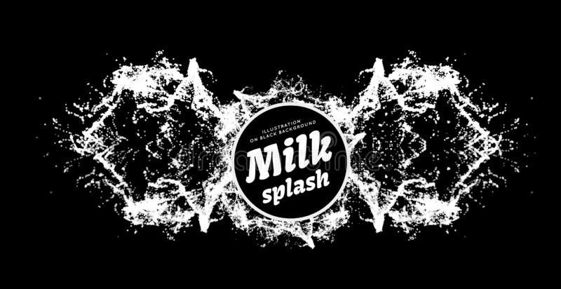 Milk splash on black background. Milk spray scattering in all directions. Vector illustration on black. Milk splash on black background. Milk spray scattering in stock illustration
