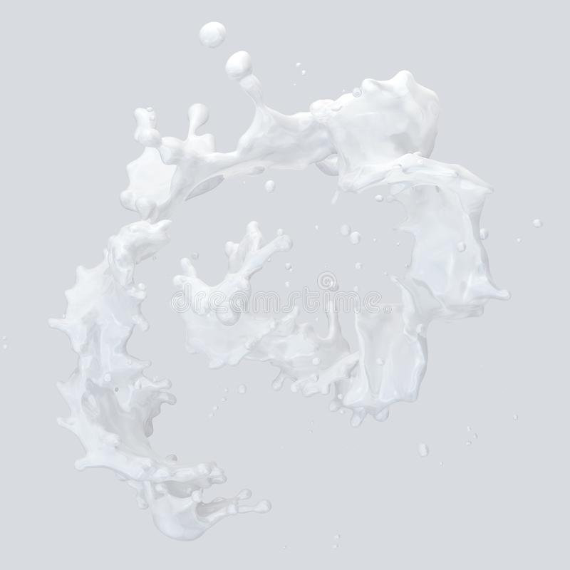 Milk splash with droplets isolated. 3D illustration. Milk splash with droplets isolated on light background. 3D illustration stock illustration