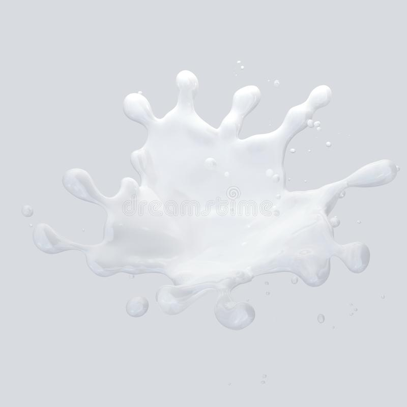 Milk splash with droplets isolated. 3D illustration. Milk splash with droplets isolated on light background. 3D illustration royalty free illustration