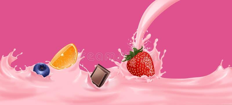 Milk splash with strawberry, Orange, chocolate, blueberry. stock images