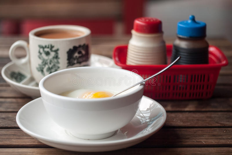 Milk Tea Poached Egg Breakfast Meal royalty free stock images