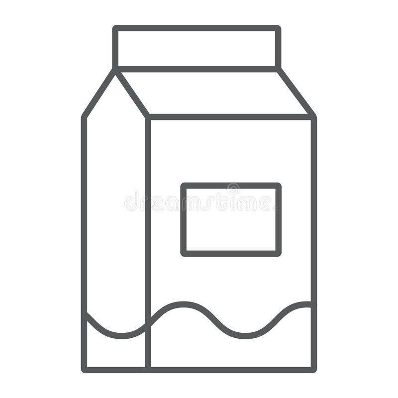 Milk thin line icon, drink and food, milk pack sign, vector graphics, a linear pattern on a white background. vector illustration