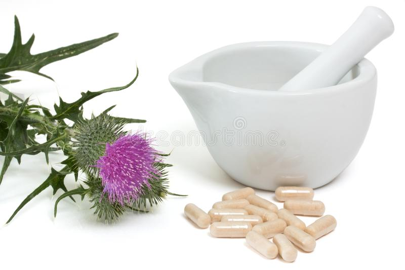 Milk thistle capsules stock photos