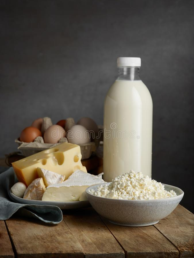 Milk and various dairy products stock photography
