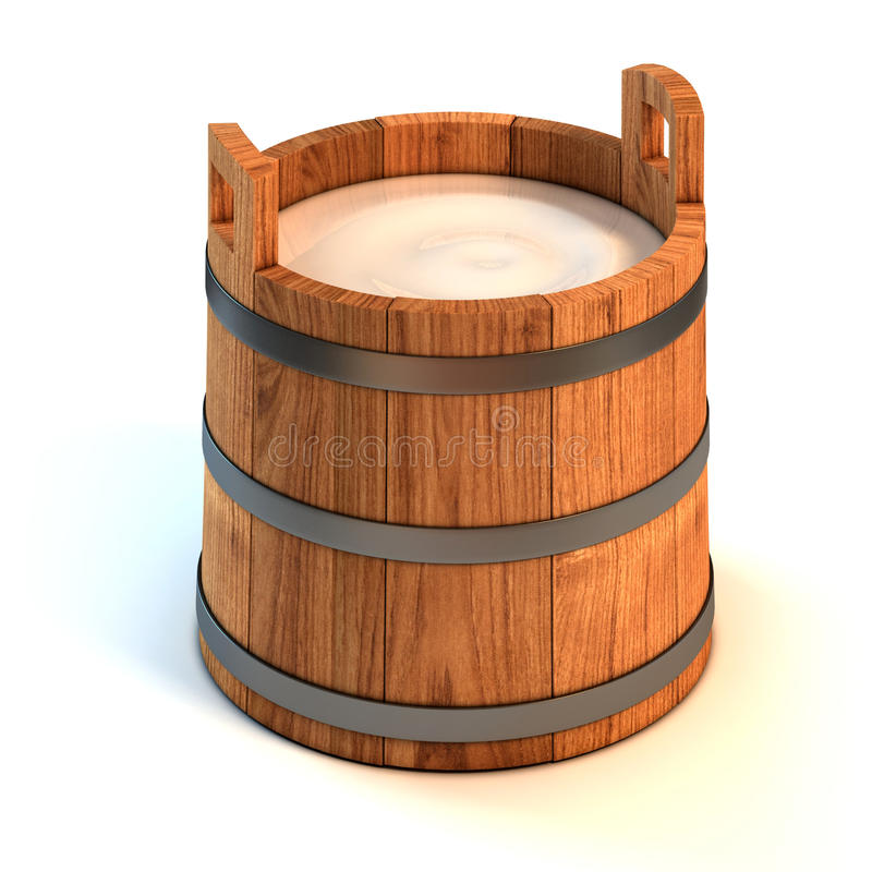 Milk wooden bucket stock illustration