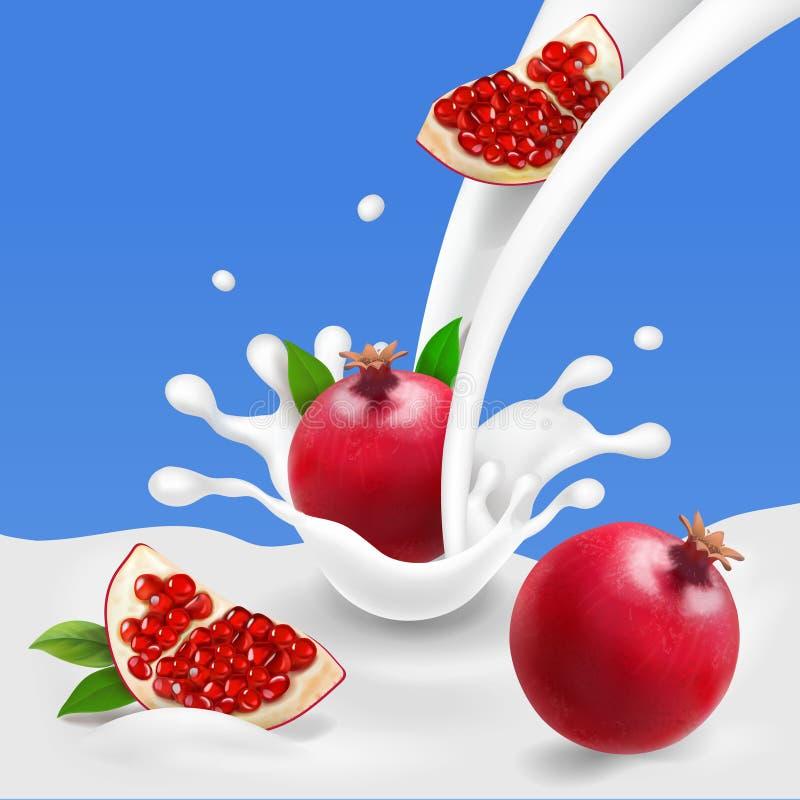 Milk or yogurt splash with pomegranate royalty free illustration