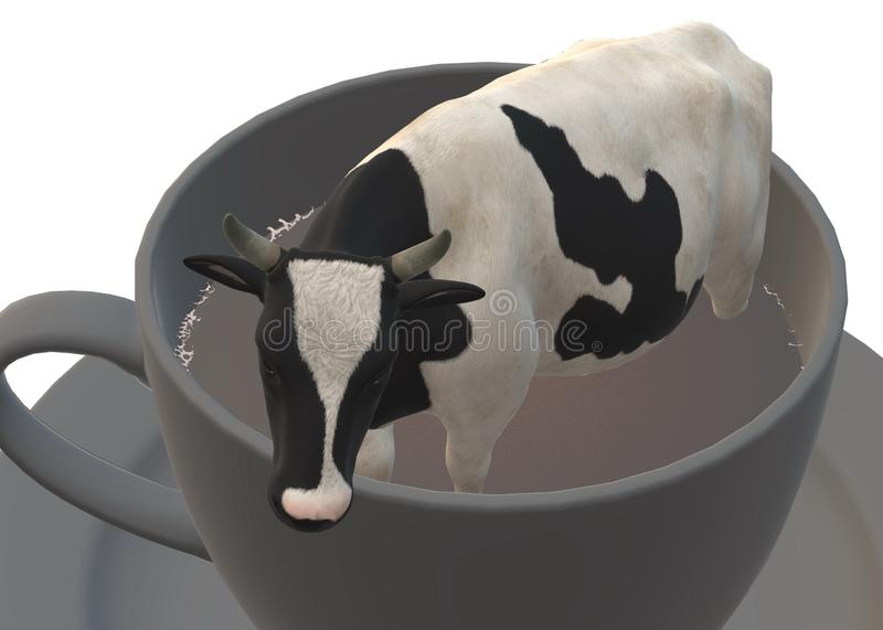 A milking cow cattle in a giant cup of black coffee, or a miniature cow cattle in a cup of black coffee royalty free stock photo