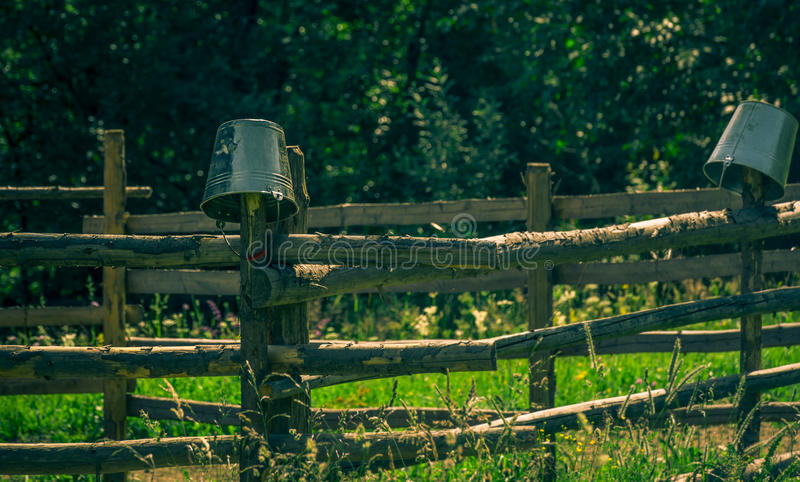 Milking pails on wooden fence, Sadova, Suceava, Romania. Metal milking pails hanging upside down on wooden fence around green field in Sadova village, Suceava royalty free stock photo