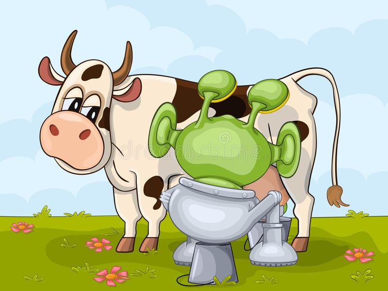 Milking scene with alien and cow stock illustration