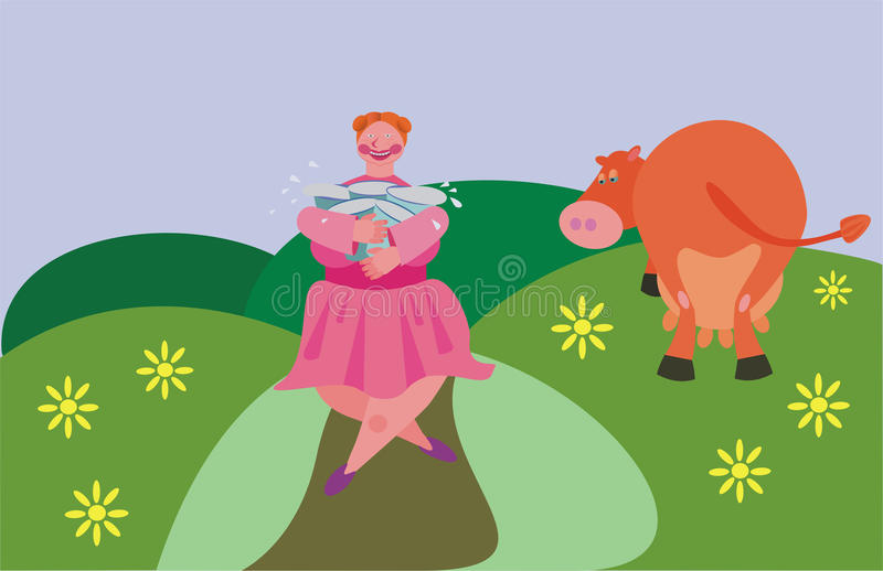 Milkmaid And Cow. Royalty Free Stock Photos