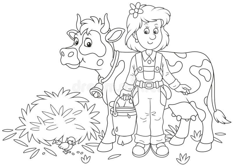 Milkmaid e mucca illustrazione vettoriale