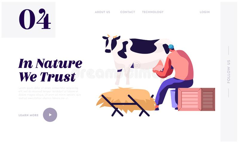 Milkmaid Woman in Uniform Milking Cow. Milk and Dairy Farmer Agriculture Products, Farming Rancher Girl Working on Animal Farm royalty free illustration