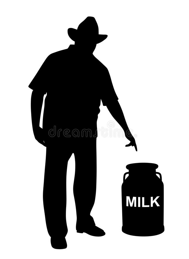 Milkman or farmer showing milk can. Illustration of a milkman or farmer showing milk can. Isolated white background. EPS file available royalty free illustration