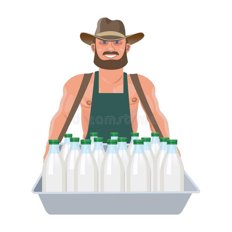 Milkman z tacą ilustracja wektor
