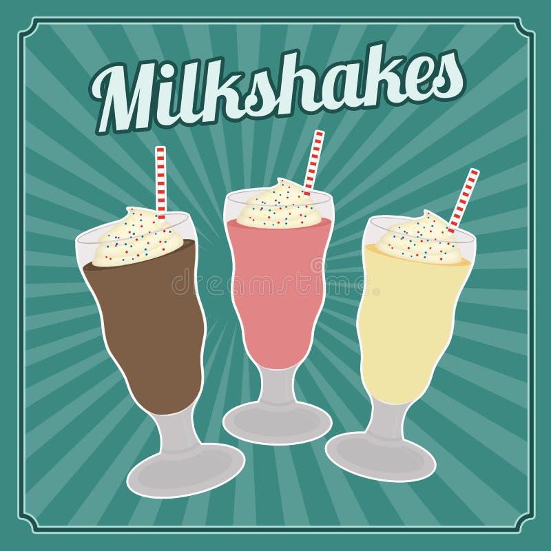 Milksakes rocznika plakat ilustracji