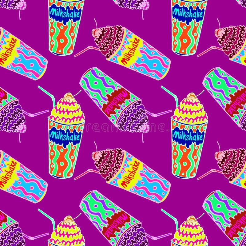 Milkshakar med sugrör och körsbäret på överkanten royaltyfri illustrationer