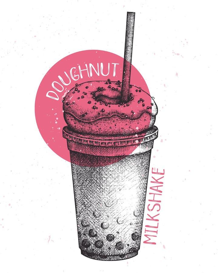 Hand drawn milkshake sketch. Milk cocktail vector illustrations. Fast food design template. Sweet drinks and desserts. royalty free illustration