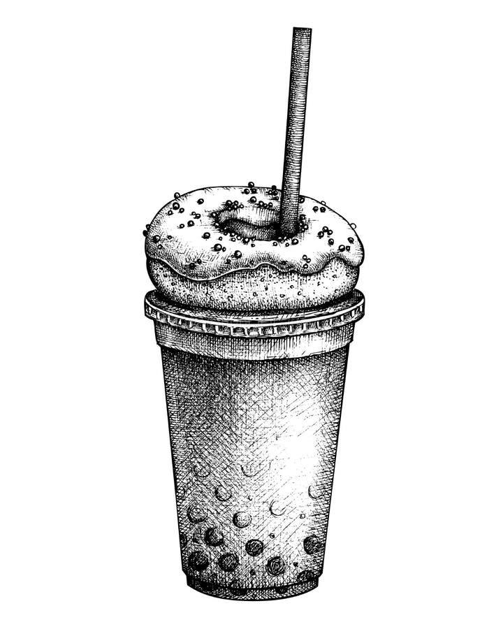 Hand drawn milkshake sketch. Milk cocktail vector illustrations. Fast food design template. Sweet drinks and desserts. vector illustration