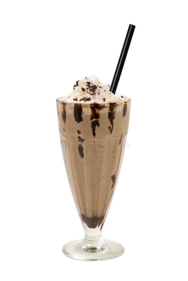 Milkshake chocolate coffee. Cool refreshing milkshake with chocolate and coffee in tall glass on white background stock photo