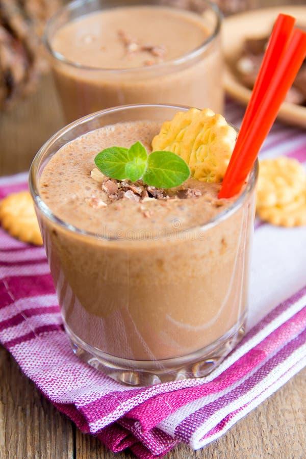 Milkshake (chokolate and banana smothie) royalty free stock photo