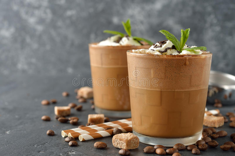 Milkshake with coffee and ice cream royalty free stock photo
